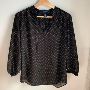 2 for $20 Chaps Flowy polka dot blouse